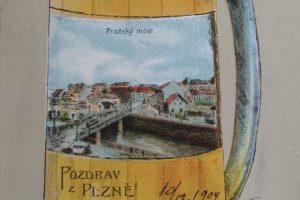 Plzensky Prazdroj ist eine Bierbrauerei, Prazsky most = Prager Brücke, Pozdrav z Plzne! = Grüsse aus Pilsen!. Poststempel 10.12.1904
